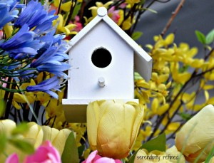 Spring Urn Planter Tulips Daffodils Forsythia Pussywillows Bird House 8