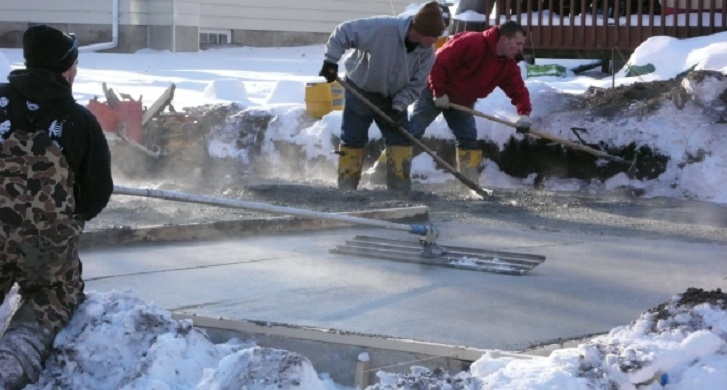 Pouring Concrete in Winter