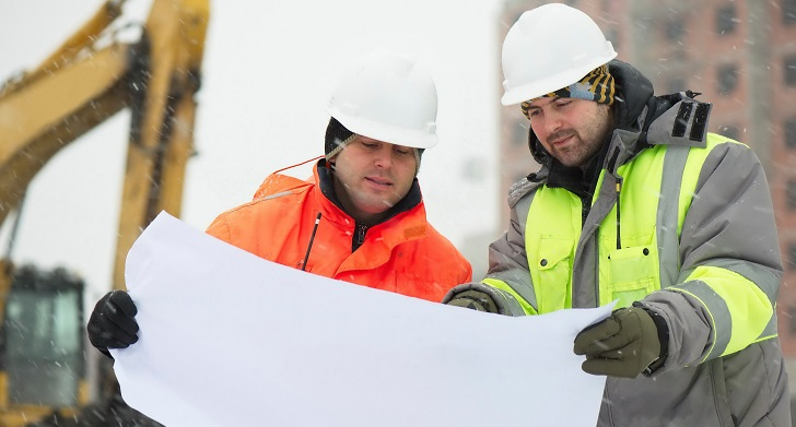 Construction Workers in Winter